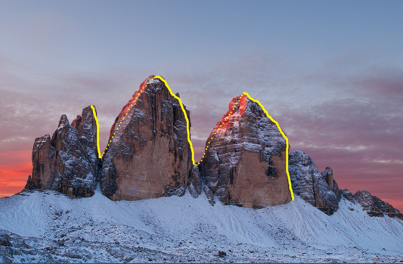 The line chosen by Simon Gietl and Roger Schäli for the first winter traverse of the Tre Cime di Lavaredo, Dolomites carried out on  15-16/03/2012., archivio Simon Gietl