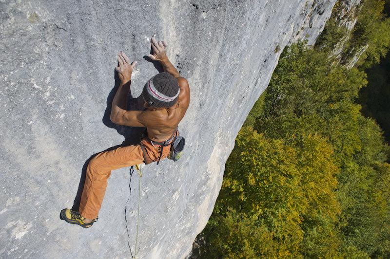 Manolo climbing Roby Present 8c+/9a, Val Noana, Pale di San Martino, Dolomites, Paolo Calzà
