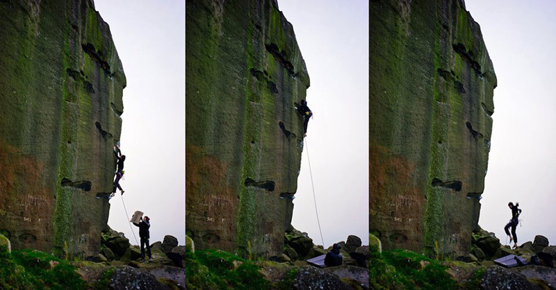 Michele Caminati on, and off, The New Statesman E8 7at Ilkley Quarry in England., Michele Caminati