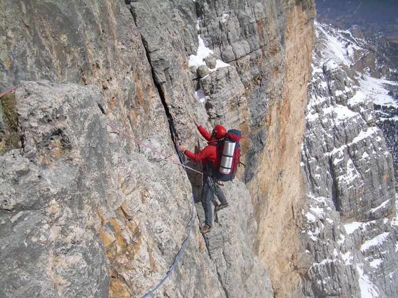 Enrico Bortolato on the lower section of the route., archivio Giorgio Travaglia