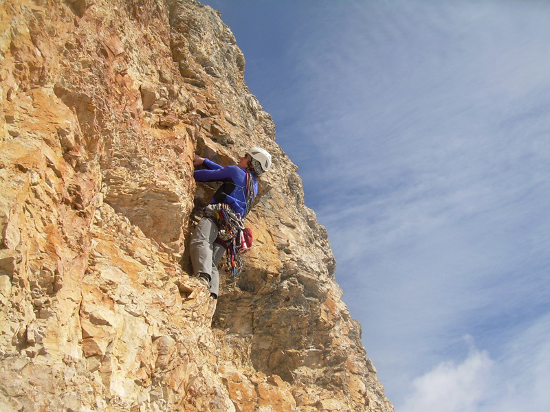 Stefano Valsecchi on the final pitches of the route., archivio Giorgio Travaglia