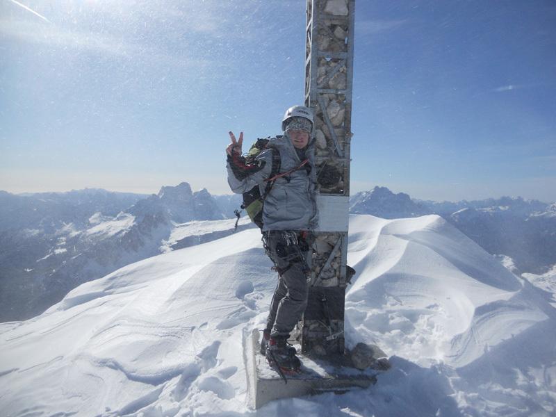 Stefano Valsecchi on the summit., archivio Giorgio Travaglia