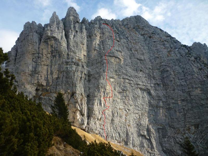 The line of Andamento Lento in Val Scura (Dolomites) first ascended in 1997 by Gigi Dal Pozzo, Maurizio Fontana and Venturino De Bona., Alessandro Baù