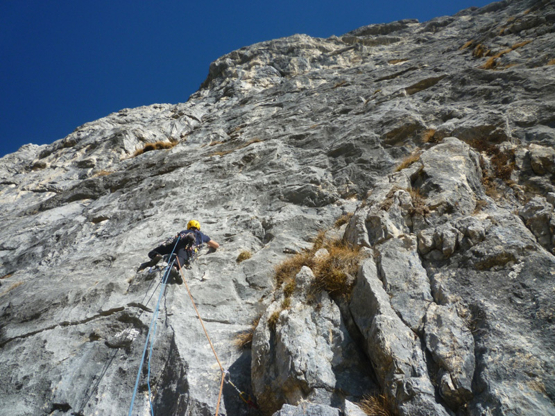 On 25-26/02/2012 Alessandro Baù and Enrico Geremia carried out the first repeat, and first winter ascent, of Andamento Lento in Val Scura (Dolomites)., Alessandro Baù