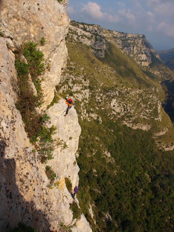 Rosa dei venti (6c+, 210m), Cava Grande del Cassibile, Sicily,