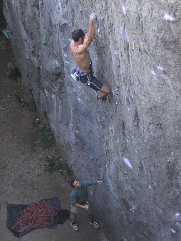 Leonardo di Marino climbing his Cocricò 7c, Punta della Croce, Rocca Pendice, Planetmountain