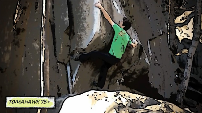 The boulder problem Tomahawk 7B+ at Chironico in Switzerland., Rok Klančnik