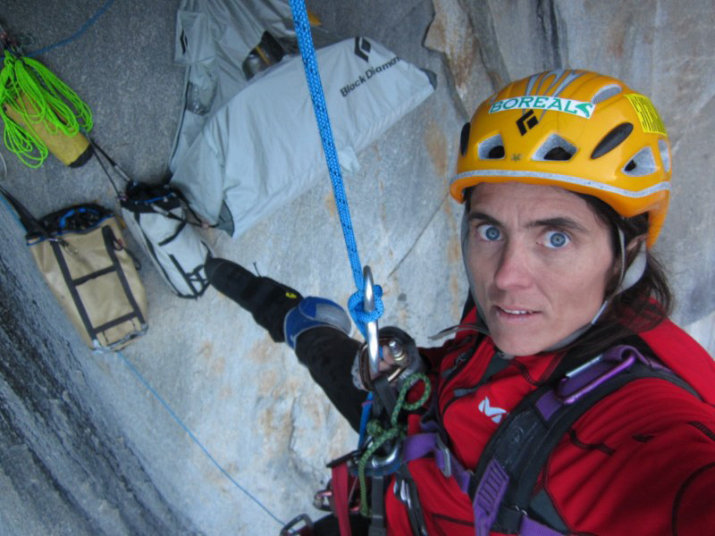 Silvia Vidal establishing Espiadimonis  (A4/6b, 1500m) up Serrania Avalancha, Patagonia., Silvia Vidal