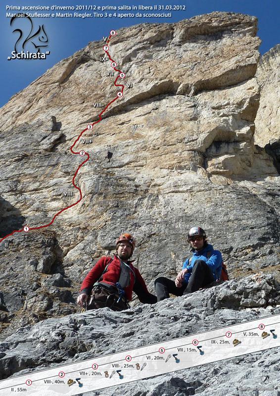 Via Schirata (IX-, 235m, Manuel Stuflesser, Martin Riegler), Piz Ciavazes, Sella, Dolomites, Manuel Stuflesser