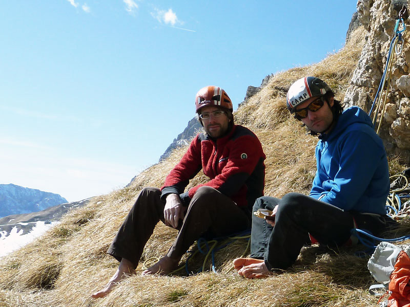 Manuel Stuflesser and Martin Riegler on the Cengia dei Camosciledge after having made the first free ascent of  Schirata, Piz Ciavazes (Sella, Dolomites) , Manuel Stuflesser