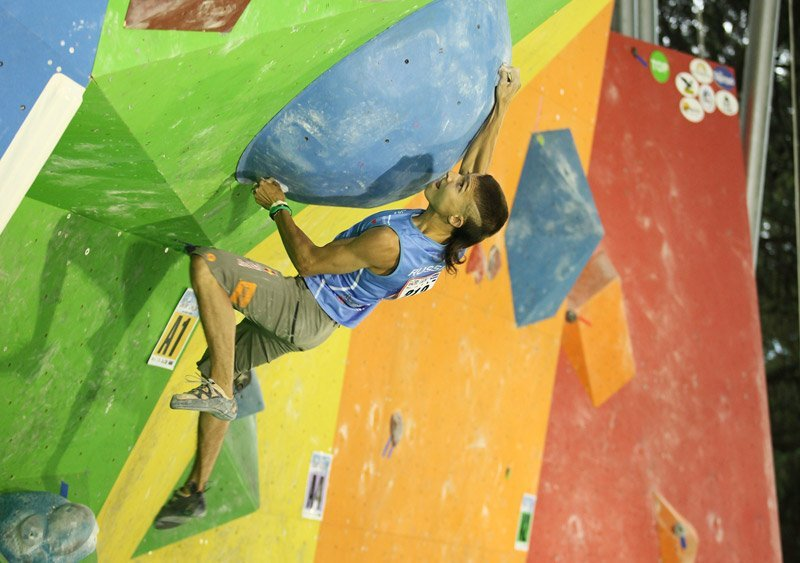 Rustam Gelmanov at the Climbing World Championship 2011 at Arco, Italy, Anna Piunova