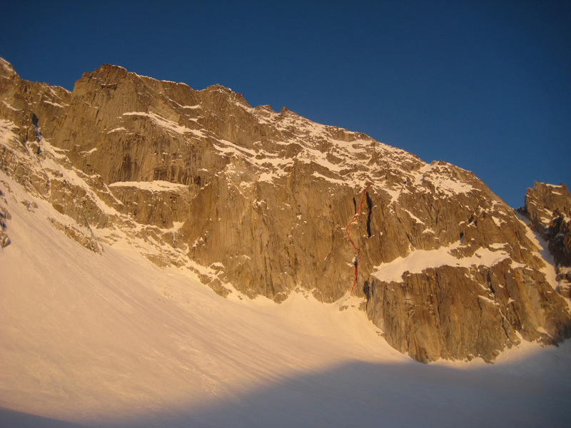 Depravation, established on 31/03/2012 by Francesco Salvaterra and Patrick Ghezzi up the East Face of Presanella., archivio Francesco Salvaterra