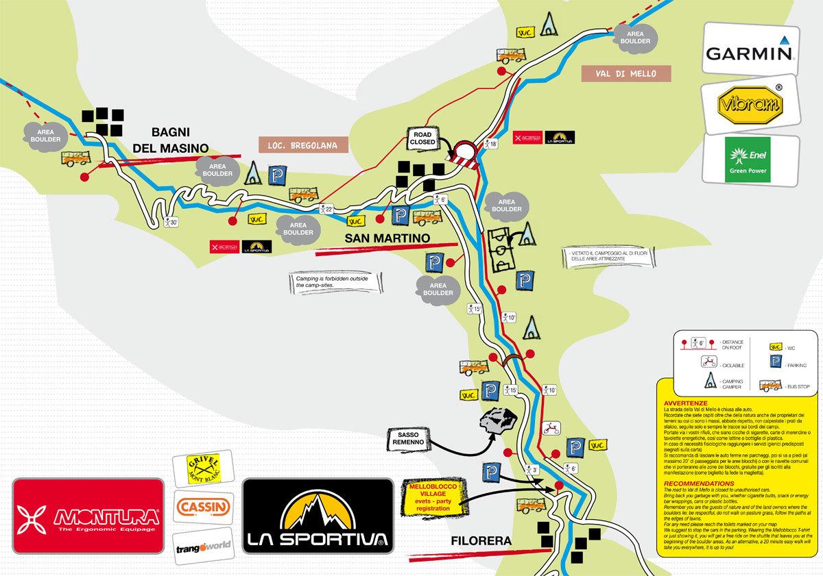 Melloblocco 2012, i parcheggi, le aree camping, i servizi, le avvertenze,
