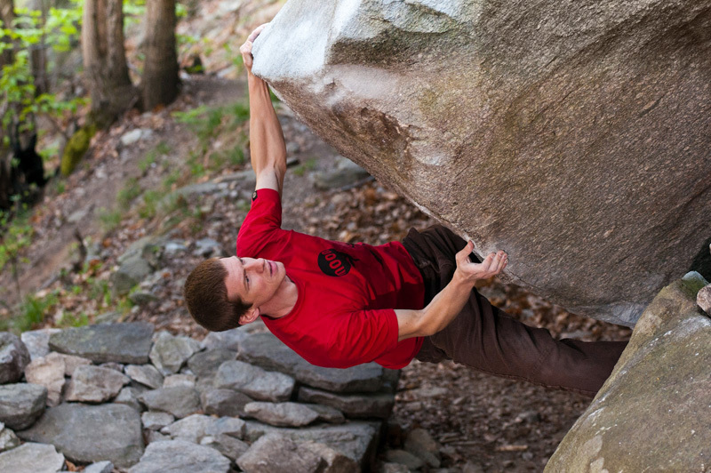 Martin Keller climbing Der mit dem Fels tanzt at Chironico, Switzerland., Angela Wagner