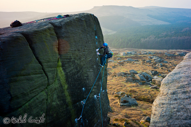 Michele Caminati climbing Braille Traille E7 6c, first ascended by Johnny Dawes at Burbage, England, Michele Caminati