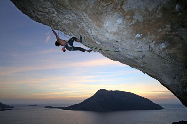 Nicolas Favresse during the first ascent of Inshallah 8c+, Kalymnos, Aris Theodoropoulos