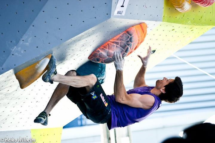 La terza tappa della at Coppa del Mondo Boulder 2012 a Vienna, Austria: Kilian Fischhuber, ÖWK- Heiko Wilhelm