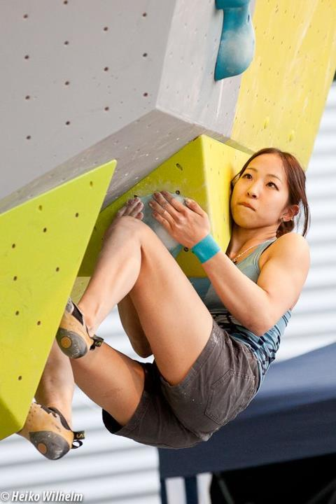 The third stage of the Bouldering World Cup 2012 in Vienna, Austria: Akiyo Noguchi, ÖWK- Heiko Wilhelm