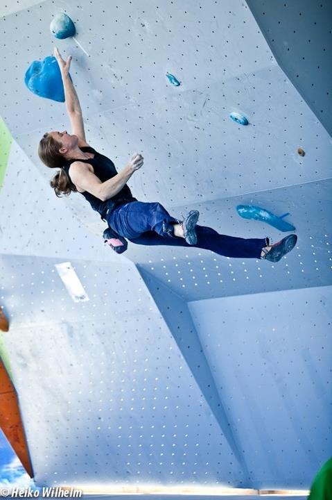 The third stage of the Bouldering World Cup 2012 in Vienna, Austria: Angela Joan Payne, ÖWK- Heiko Wilhelm