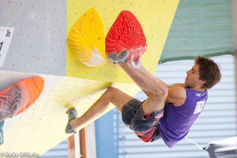 The third stage of the Bouldering World Cup 2012 in Vienna, Austria: Mario Lechner, ÖWK- Heiko Wilhelm