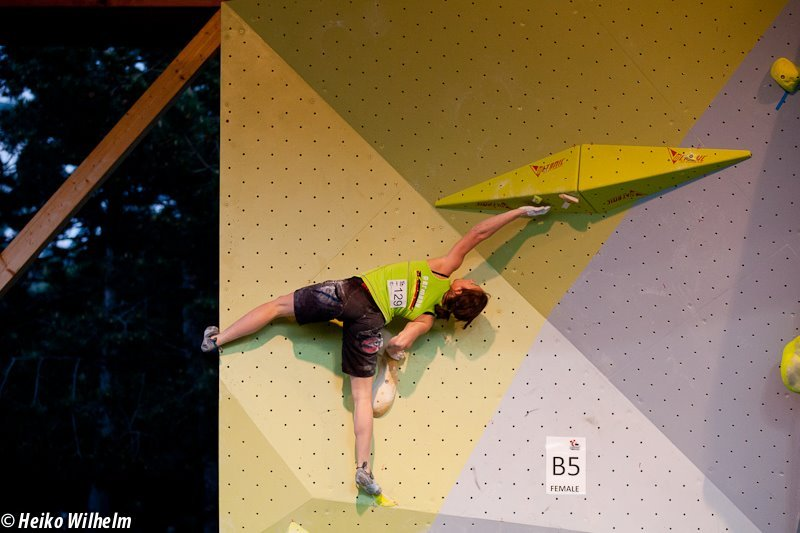 The third stage of the Bouldering World Cup 2012 in Vienna, Austria: Juliane Wurm, ÖWK- Heiko Wilhelm
