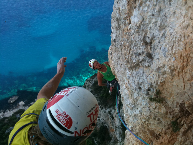 Caroline Ciavaldini and James Pearson at the end of the second 8a+ pitch on the route Aria, Punta Plumare, Sardinia., Pearson archive