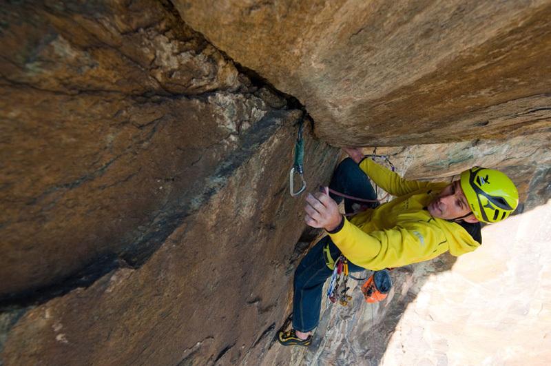 Trad climbing on Pilier Rhodo at Montjovet, Valle d'Aosta, Marco Spataro