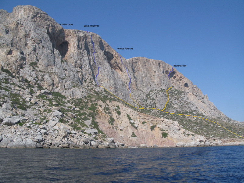 Climbing at the sector  Inspiration at Telendos, Kalymnos, Simon Montmory