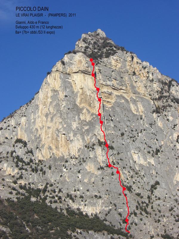 Le Vrai Plaisir - (Pampers), Piccolo Dain, Valle del Sarca (8a+, 7c obbl, 425m, Gianni Canale, Aldo Mazzotti e Franco Cavallaro 2011), Gianni Canale