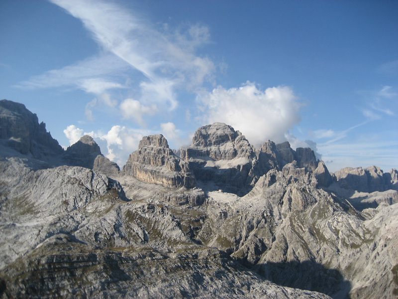 The splendid view onto Rifugio Pedrotti, with Brenta Alta and Brenta Bassa., Luca Cornella