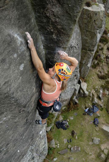 Lucy Creamer only just on Janus E7 6b Curbar, Tim Glasby