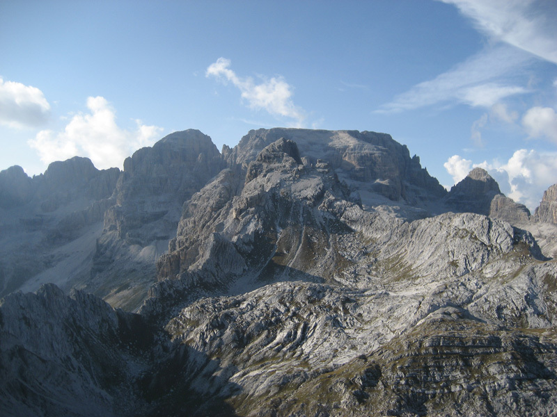 Forcolotta di Noghera in the forground and, in the background, Cima Tosa on the right and Cima d'Ambiez on the left., Luca Cornella