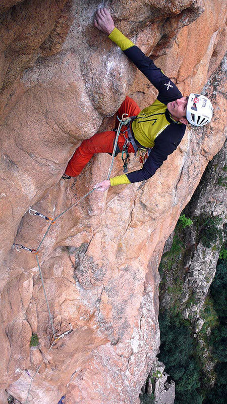 Rolando Larcher on the 7c pitch of