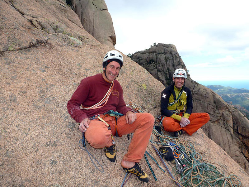 Maurizio Oviglia and Rolando Larcher on the summit of Tafunata Galattica,