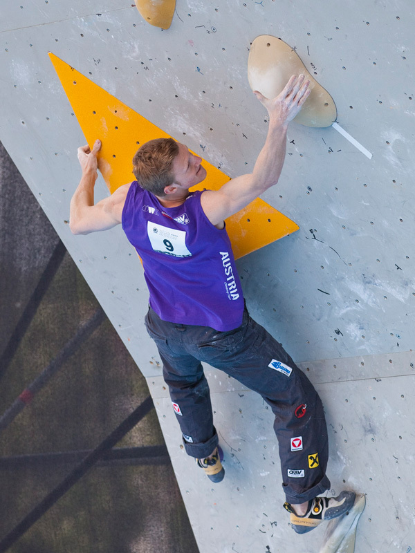 The fourth stage of the Bouldering World Cup 2012 in Innsbruck, Austria: Jakob Schubert, ÖWK- Heiko Wilhelm