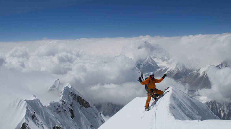 17/05/2012: David Göttler on the summit of Nuptse (7861m), climbed via the long and difficult North Ridge Scott route together with Gerlinde Kaltenbrunner. , Gerlinde Kaltenbrunner