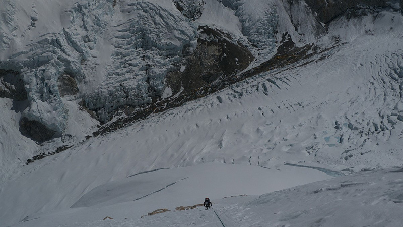 Gerlinde Kaltenbrunner at the start of the North Pillar on Nuptse., David Göttler