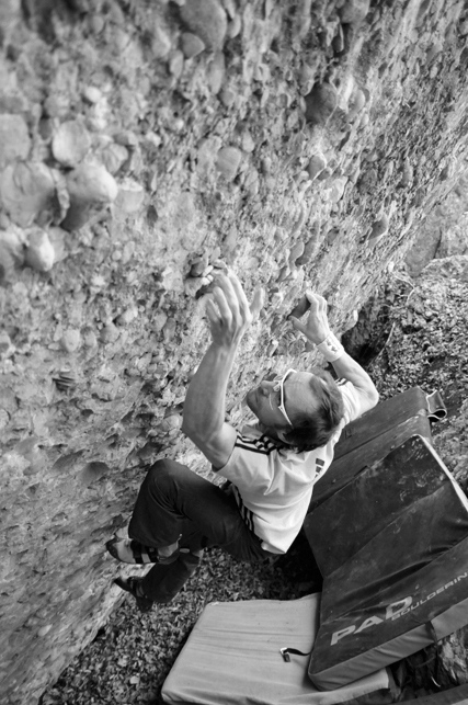 Bernd Zangerl freeing Normopath 8B+ at Murgtal in Switzerland.,