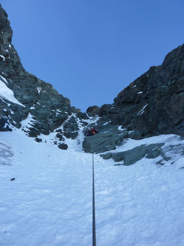 Grossglockner: Pallavicini on the first of three mixed pitches, Guide Alpine Gruppo Kals am Großglockner