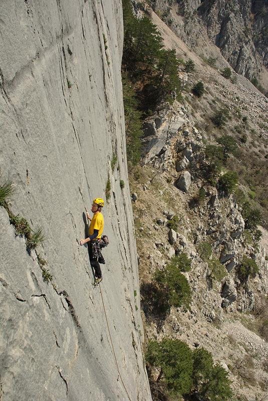 Sergey Nefedov in arrampicata a Monte Morcheka, Crimea, Sergey Nefedov