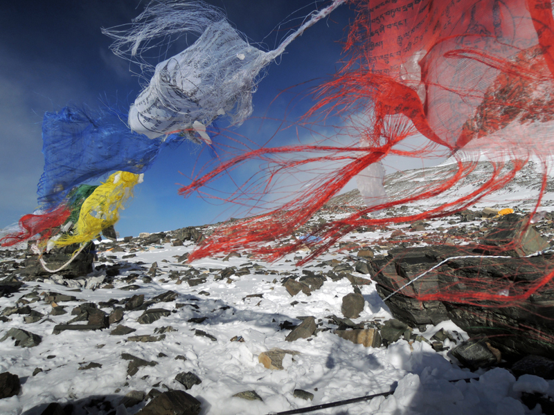 Prayer flags on the South Col of Everest., Ueli Steck
