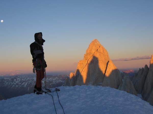 Alessandro Beltrami with the shadow of Cerro Torre cast on the West face of Fitz Roy, arch. E. Salvaterra - A. Beltrami