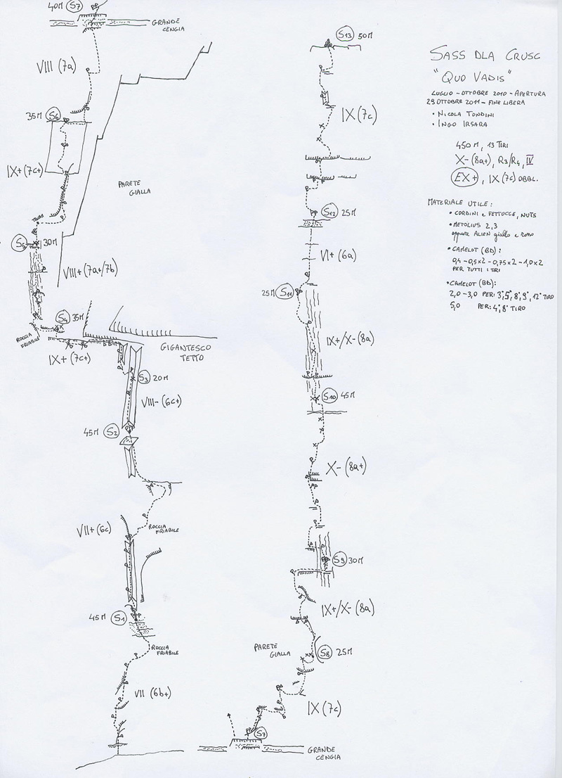 Il disegno della via Quo Vadis, Sass dla Crusc  (X-, 8a+, R3/4; IV EX+ 470m, Nicola Tondini, Ingo Irsara), Sass dla Crusc in Dolomiti.,