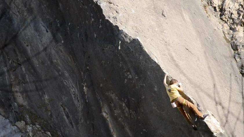 Roland Hemetzberger during the first ascent of Bügeleisen 8b+ close to Kufstein, Austria., Roland Hemetzberger
