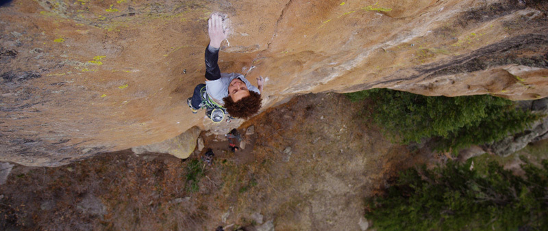 Cody Roth making the first trad ascent of Mainliner 14a/b R (8b+/8c) at Las Conchas, Jemez Mountains, New Mexico, USA, Nelson Carayannis / Chuck Fryberger Films.