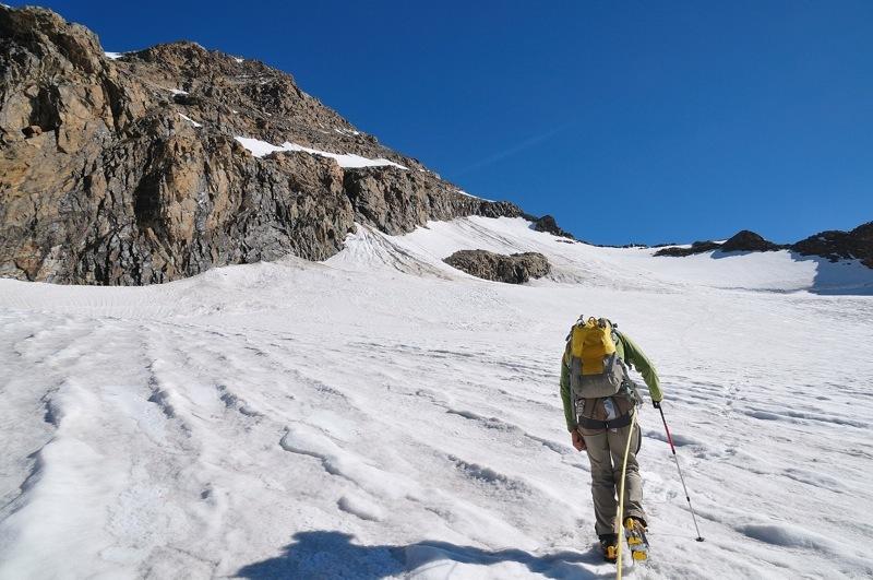 Cresta del Soldato alla P.ta Giordani e Piramide Vincent: attraversando il ghiacciaio del Bors in direzione della base della Cresta del Soldato, Marco Zaninetti