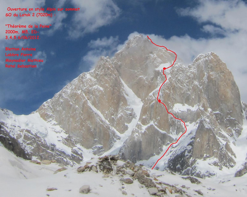 The route line of Théorême de la Peine (2000m, M5, ED-) up Latok II (7020m), Karakorum, Pakistan established by Antoine Bletton, Pierre Labbre, Mathieu Maynadier and Sebastien Ratel., Mathieu Maynadier