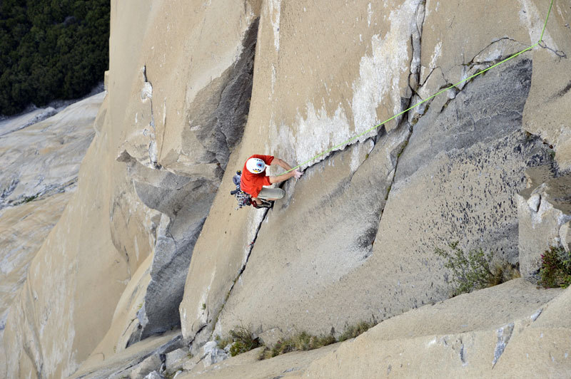 Hans Florine setting the new speed record up The Nose (Yosemite), Paul Hara