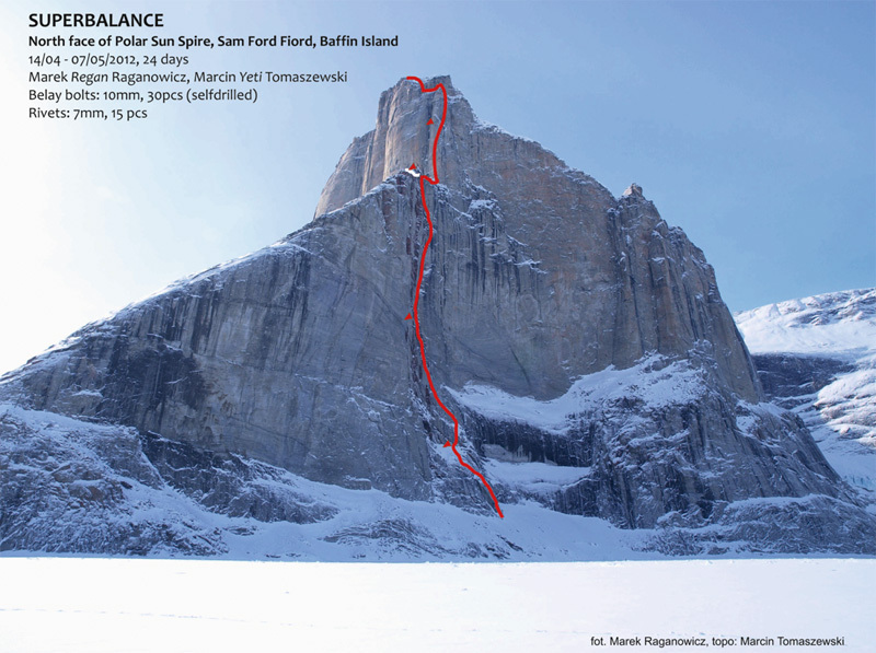 Superbalance (VII, A4, M7+, Marek Raganowicz, Marcin Tomaszewski 0405-2012), Polar Sun Spire, Baffin Island., Marek Raganowicz