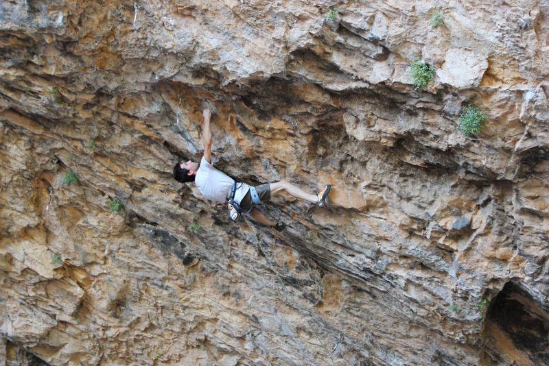 Ramon Julian Puigblanque repeating Catxasa 9a+ at Santa Linya, Spain.,